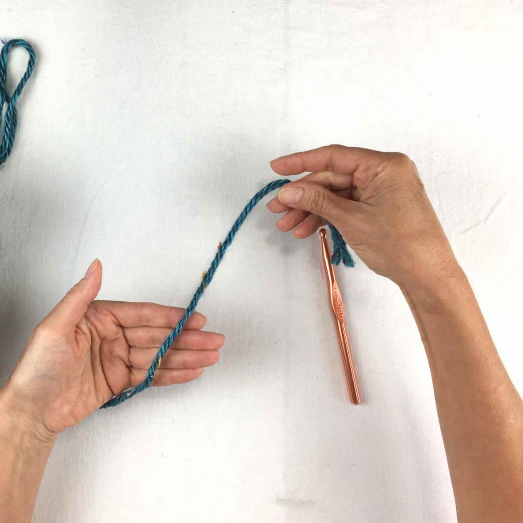 step one for making a slip knot