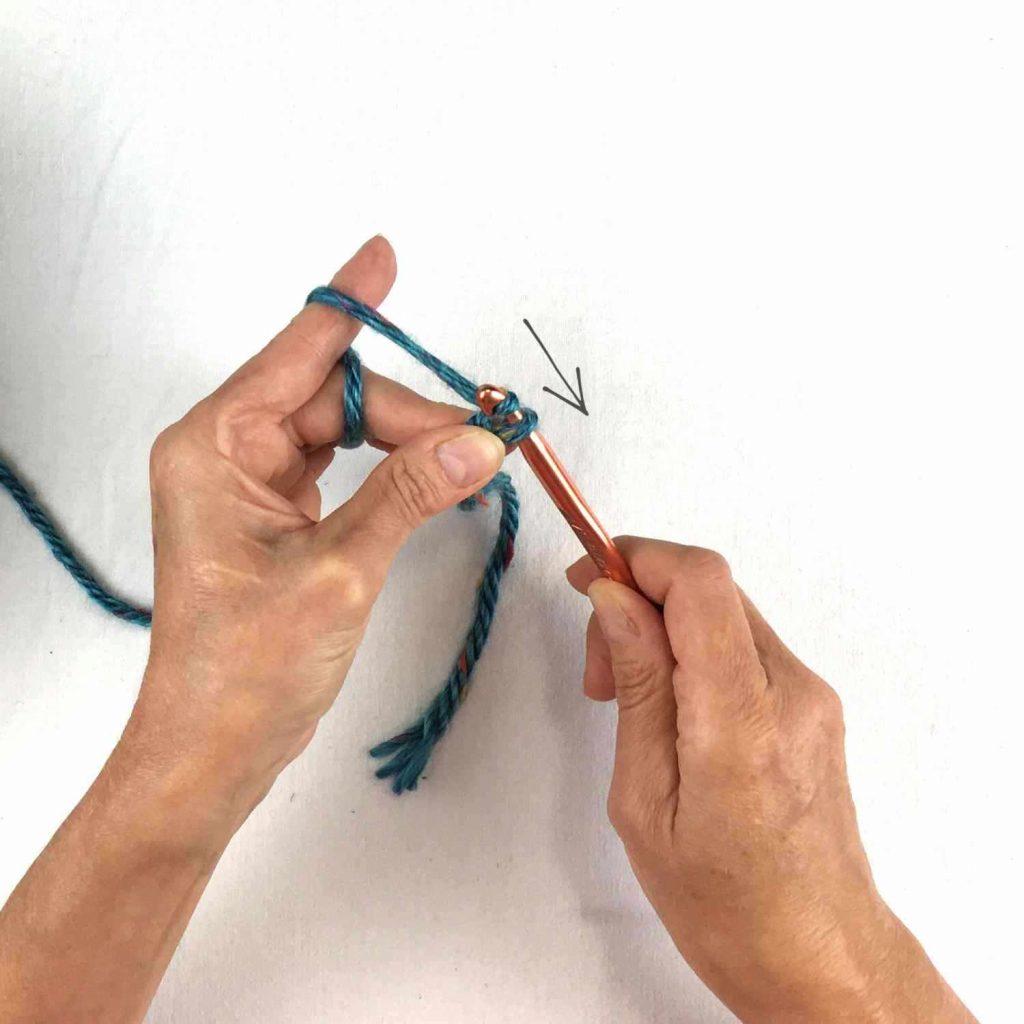 making a crochet chain