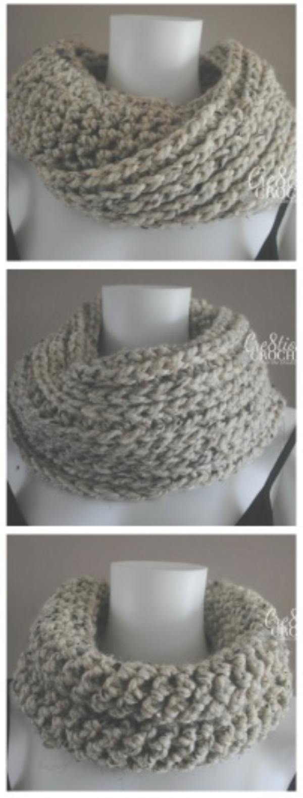 Free Crochet Pattern for a reversible infinity scarf